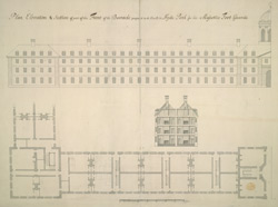 Elevation & Section of part of the Front of the Barracks proposed to be built in Hyde-Park for His Majesty's Foot Guards